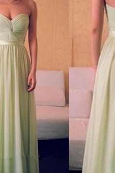 Custom-Made Sage Sweetheart Chiffon Prom Dresses 2015, Long Prom Dresses, Bridesmaid Dresses, Evening Dresses