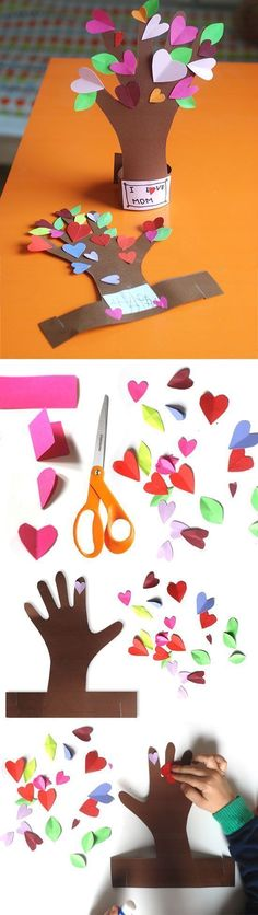 Flowering Tree from a Kid's Hand   DIY Valentines Day Crafts for Kids to Make   Easy Valentine Crafts for Toddlers to Make