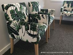Aged Care Wellness centre, custom made armchairs featuring palm leaf design in a vibrant green. Aged Care, Pattern Fabric, Leaf Design, Armchairs, Green Leaves, Custom Made, Centre, Living Spaces, Palm