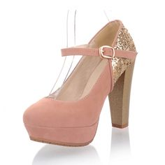 Sexy Suede Beads Buckle Platform Thick Heels For Women