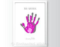 Family Handprint Art Print, Hand print, Child, Baby, Personalised, Baby handprint, Child Handprint, Family print, Handprint art (unframed)