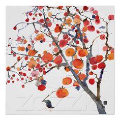 Persimmon Tree November Bird watercolor greeting card by Masha D'yans Art And Illustration, Illustrations Posters, Watercolor Bird, Watercolor Paintings, Art Encadrée, Art Asiatique, Art Japonais, Inspiration Art, Oeuvre D'art