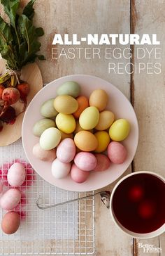 Use all-natural dye recipes made from household ingredients to create beautiful easter eggs: http://www.bhg.com/holidays/easter/eggs/natural-easter-egg-dyes/?socsrc=bhgpin041114naturaleastereggdye
