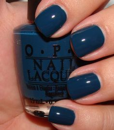 """opi """"ski teal we drop"""" for ladies who think you can't wear dark polish on finger nails. Essie, Cute Nails, Pretty Nails, Manicure Y Pedicure, Pedicure Ideas, Pedicures, Nail Ideas, Mani Pedi, Opi Nails"""