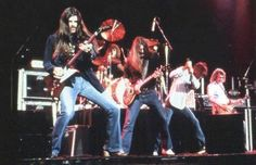 """A STAGE SHOT of The """"ORIGINAL"""" MOLLY HATCHET Band Members ... (L-R): Dave Hlubek (Guitar), Bruce Crump (Drums), Duane Roland (Guitar), Danny Joe Brown (Vocals) & Steve Holland (Guitar) During The FLIRTIN' WITH DISASTER Tour 1979 - 1980 ** CAN'T GET ENOUGH!! **"""