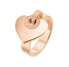 BVLGARI ~ 18k rose gold heart ring adorned with diamonds