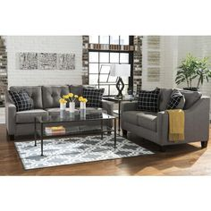 Benchcraft Brindon Contemporary Sofa with Track Arms & Tufted Back