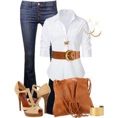 Jeans, white collar shirt, brown belt & brown handbag.