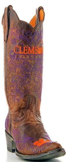 Womens Gameday Boots Clemson http://www.rockytopleather.com/products/womens-gameday-boots-clemson.html
