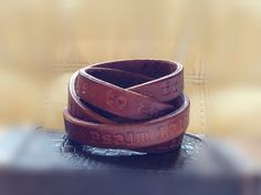 Extra Long Leather 'message'  Wrap Bracelet - Custom Embossed Text -  on Etsy, $25.00
