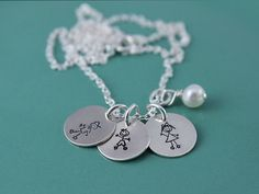Family Stick Figure Charms Hand Stamped Necklace $ 31.00