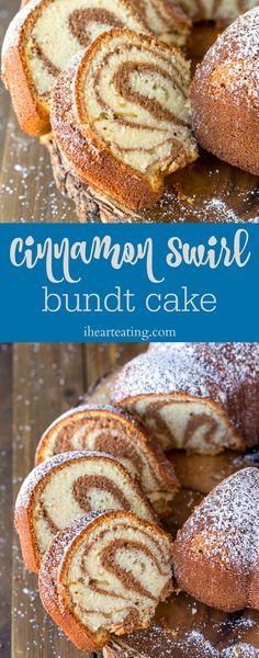 Cinnamon swirl bundt cake has rich cinnamon cake swirled with sweet vanilla cake in this easy homemade marble cake recipe! #bundtcake #recipes via @katedean