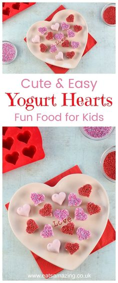 Cute and Easy Frozen Yogurt Hearts recipe - fun Valentines Day snack for kids - Eats Amazing UK #valentinesday #valentines #kidsfood #funfood #hearts #cutefood #foodart #edibleart #snacks #dessertrecipes #frozen #yogurt #sprinkles