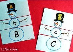 Snowman Letter Matching Puzzles Pinterest
