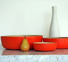 Tangerine Tango - pantone's color of the year in Spun Bamboo salad bowls