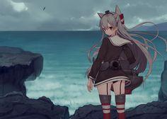 Konachan.com - 212134 amatsukaze_(kancolle) ass clouds gray_hair kantai_collection long_hair misoni_comi panties seifuku thighhighs twintails underwear water.jpg (2240×1600)