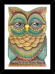 """Owlette OAKLEY - Owl Art - PRINT 8 x 10"""" by Mandy Saile - Nature, Coloured Pencil, Woodland, Bird Art, Whimsical, Childrens"""