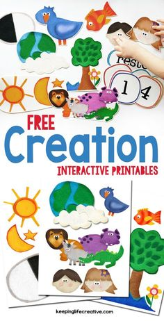 Make Bible learning fun and interactive with colorful FREE Creation scripture story printables. Many other Bible stories also available! Creation Bible Lessons, Creation Bible Crafts, Creation Activities, Bible Story Crafts, Bible Stories For Kids, Bible School Crafts, Bible Crafts For Kids, Bible Study For Kids, Sunday School Crafts