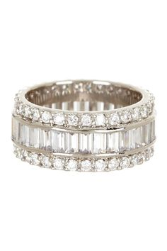 Pave CZ Halo Baguette Row Ring