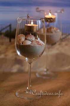 Wine Glass with Handing Tea Light Candle #weddingdiyidea