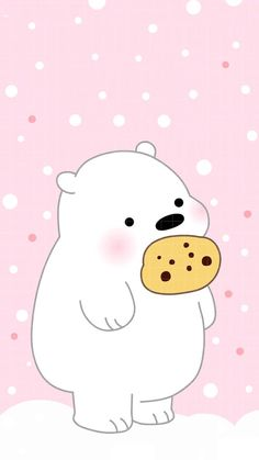This polar bear likes him some cookies Whats Wallpaper, Cute Panda Wallpaper, Kawaii Wallpaper, Cute Wallpaper Backgrounds, Wallpaper Iphone Cute, Polar Bear Wallpaper, We Bare Bears Wallpapers, Panda Wallpapers, Cute Cartoon Wallpapers