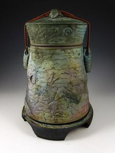 Stone Pillars Raku Style Individual Size Cremation Urn for Ashes