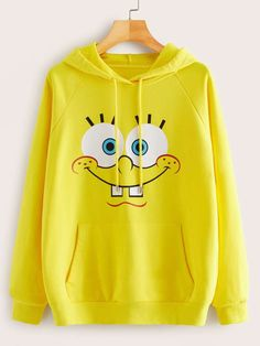 Shop SpongeBob x ROMWE Pocket Front Drawstring Hoodie at ROMWE, discover more fashion styles online. Girls Fashion Clothes, Teen Fashion Outfits, Outfits For Teens, Trendy Outfits, Stylish Hoodies, Cool Hoodies, Hoodie Outfit, Sweater Hoodie, Cute Comfy Outfits
