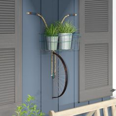 Front Basket Metal Bicycle and Planter Wall Decor