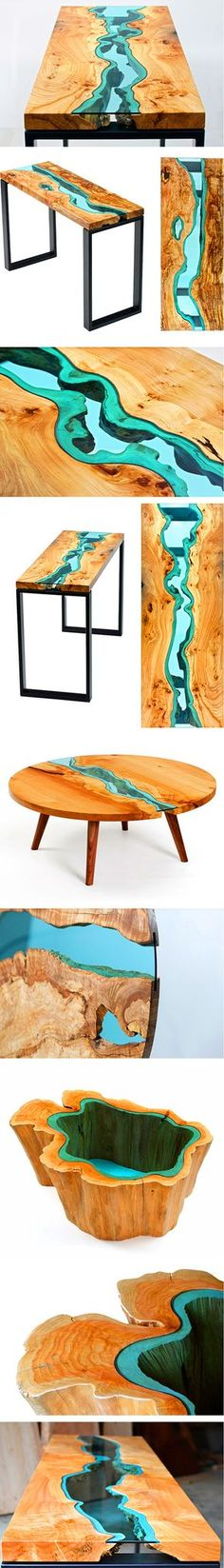 """Greg Klassen is a furniture maker in the Pacific Northwest who finds inspiration in its landscape and translates that into his work. His River Collection is a series of intricately designed and handcrafted tables that feature embedded, blueish-green glass """"rivers"""" running throughout each piece. The naturally uneven edges of the wood and their vivid grains provide the perfect """"shore"""" to mimic bodies of water."""