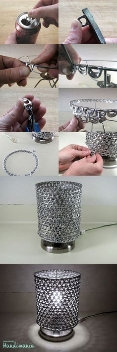 Recycling / DIY soda can tabs lamp na Stylowi. Can Tab Crafts, Aluminum Can Crafts, Fun Crafts, Diy And Crafts, Soda Can Tabs, Diy Lampe, Craft Projects, Projects To Try, Pop Cans