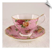 Royal Albert DUSKY PINK LACE Cup & Saucer MIB Old Country Roses