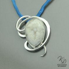 Wind Storm White Druzy Fine Art Pendant by Kaelin Design