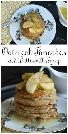 Oh my gosh, this syrup is ADDICTING! These oatmeal pancakes with buttermilk syrup are so addicting that all your friends and family will be begging you for the recipe. Top with fried apples. | gluten free breakfast recipes | gluten free pancakes | gluten free recipes | homemade pancake recipes | homemade syrup recipes || This Vivacious Life