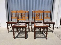 Set of Six / 6 Yellowwood chairs with leather riempies. In excellent condition. Living Room Chairs, Dining Chairs, Extra Seating, Club Chairs, Contemporary Style, Traditional, Leather, House, Furniture