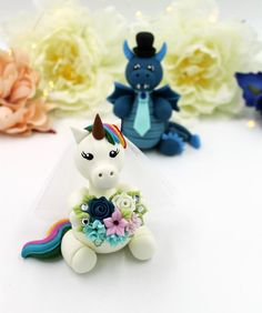 Personalized wedding cake topper, unicorn and dragon cake topper, geek Mr and Mrs nerd fantasy cake topper wedding cake decor Personalized Wedding Cake Toppers, Custom Cake Toppers, Custom Cakes, Unicorn Wedding, Fantasy Cake, Unicorn Cake Topper, Birthday Cake Toppers, Wedding Groom, Cake Decorating