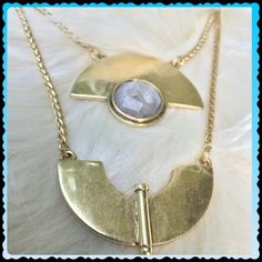 """NWT Lucky Brand necklace Double strand. Gold toned necklace with faceted white/grey stone. 19"""" length with 1.75"""" extender. Lobster clasp closure. Lucky Brand Jewelry Necklaces"""