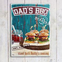 """Handbemaltes Holzschild  """"Dad's BBQ"""" von PimpYourHome by Tascha auf DaWanda.com"""