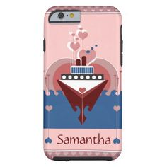 Personalized cruise love themed iPhone 6 case. Cruise skin case featuring a lovely illustration art design of a cruise ship sailing in a sea of love! Perfect for those who loves cruising or sailing. #cruise #cruiseship #cruiseiphone6case #nautical #maritime #iphone6case #iphone6