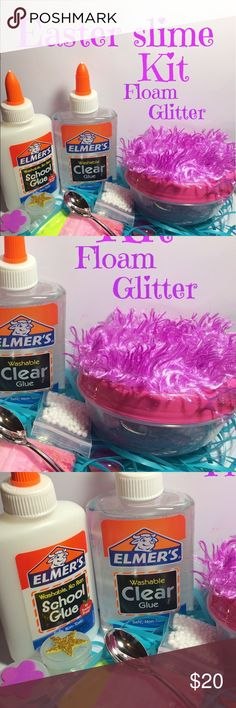 Easter slime making kit This is perfect for making slime includes everything that you need to make your very own slime  Includes: Glue clear 6oz and white 4 oz. Color  Starch Glitter Confetti-silver and gold Spoon  Cute container Sample of my slime Free gifts Orbeez Fish bowl pebbles  Floam and color Other