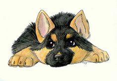 german shepherd drawing puppy - Google Search