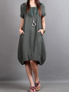 cotton Loose Fitting comfort long dress Two layers large size dress