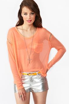 Neon Cutout Tee I have a bunch of sheer ones that I could wear with a bikini top or bando with. ..still cute. Yeah!