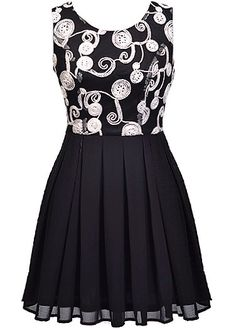 Spinning Spools Dress: Features a classic black foundation with brilliant white embroidery covering the bodice, fitted waist for an instant slimming effect, pleated A-line skirt for a princess feel, and an edgy exposed rear zipper to finish.