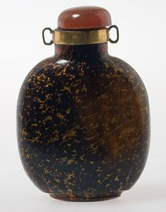 19th century gold speckled glass snuff bottle.