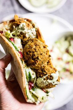 Butternut Squash Falafel with Green Cabbage Salad and Cilantro Garlic Sauce — The Whole Bite