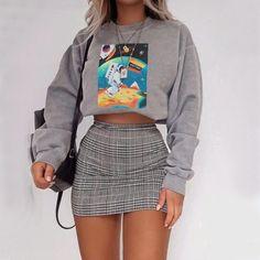 Slim High Waist Plaid Hips Skirts