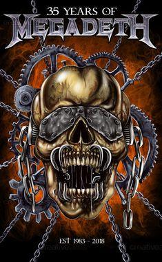 Megadeth Design a Vic Rattlehead Poster: Highlights Week Two Heavy Metal Bands, Heavy Metal Art, Music Artwork, Metal Artwork, Power Metal, Death Metal, Vic Rattlehead, Black Metal, Iron Maiden Albums
