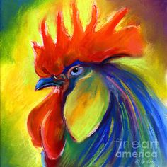 Rooster painting - Svetlana Novikova -- Native Russian, living in Austin, TX with her family... ♥