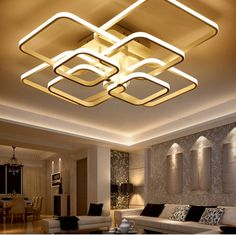 Remote control living room bedroom modern Led ceiling lamp modern simple square ring creative atmosphere warm bedroom lamps