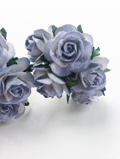 25mm Purple Paper Roses with Wire Stems - 10 White Mulberry Paper Flowers with Purple Edges - Ideal for Creative Craft Projects ** You can find more details by visiting the image link.